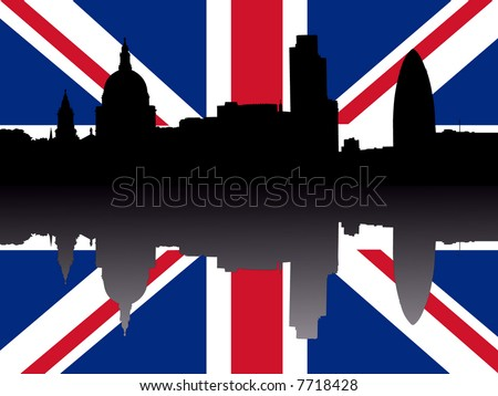 St Paul's cathedral and London skyscrapers reflected with British flag - stock vector