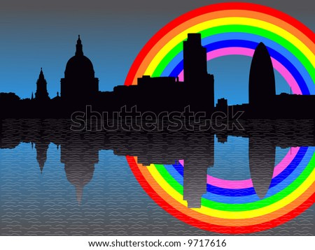 St Paul's cathedral and London skyscrapers reflected with rainbow - stock vector