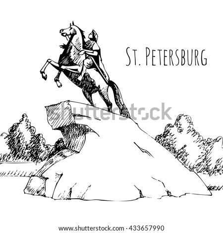St. Petersburg architectural monuments, travel sketches, line drawing. Monument to Peter the first