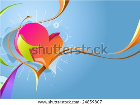 St. Valentine background with abstract heart - stock vector