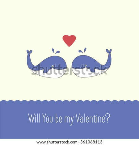 St. Valentineu0027s Day Card Cover Design With Couple Of Whales . Stock Vector.