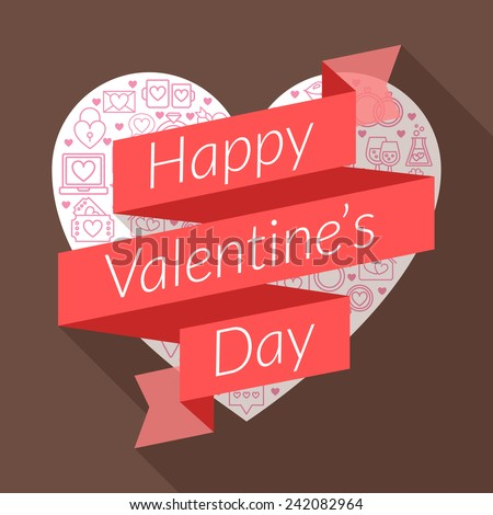 St. Valentine's Day card design. Vector illustration in flat design style. Ribbon with text - stock vector