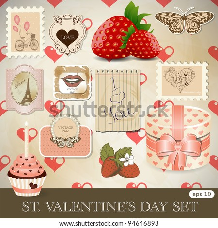 St. Valentine's day design elements - stock vector