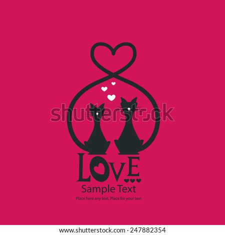 St. Valentine's day greeting card with cats - stock vector