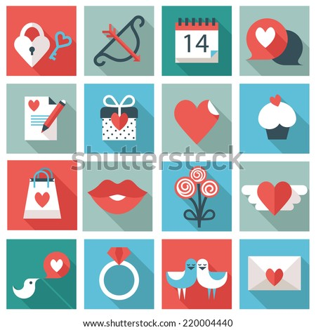 St. Valentine's Day icons - stock vector