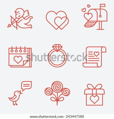 St. Valentine's Day icons, thin line style, flat design - stock vector