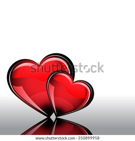 St. Valentine's Day. Red glass heart on white Background. It has a reflection. Grouped for easy editing. Perfect for invitations or announcements. - stock vector