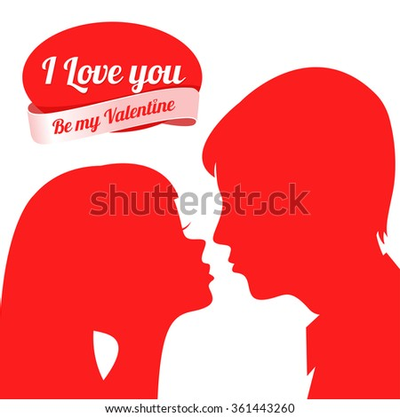 St. Valentine's Day. Vector. Background day Saint. Valentina. Red silhouettes of lovers on a white background. Silhouettes of loving couple - stock vector