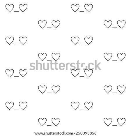 St. Valentines Day minimalistic seamless pattern with 'In love' emoticon in linear style - stock vector