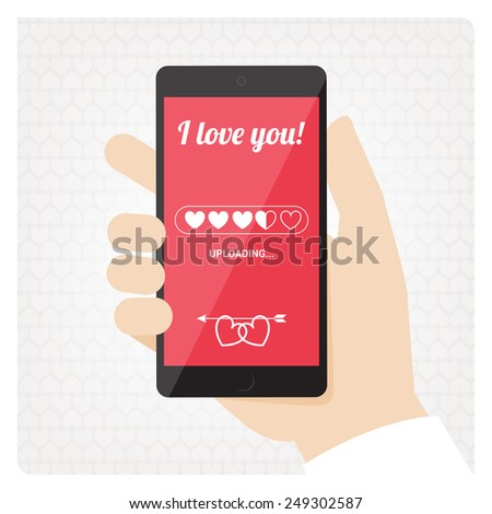St Valentines mobile phone with love message uploading