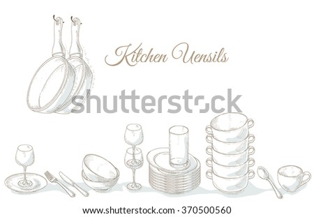 Stack empty plates, bowls and cups. Restaurant menu cover card. Tableware on shelf. Dishes. Dinnerware: plate, cup, bowl, spoon, fork, knife, glass. Kitchenware and cutlery hand dawn illustration - stock vector