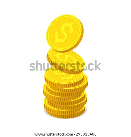 Stack from gold coins. Coins with dollar sign is falling from the top so stack is increasing. Income concept - stock vector