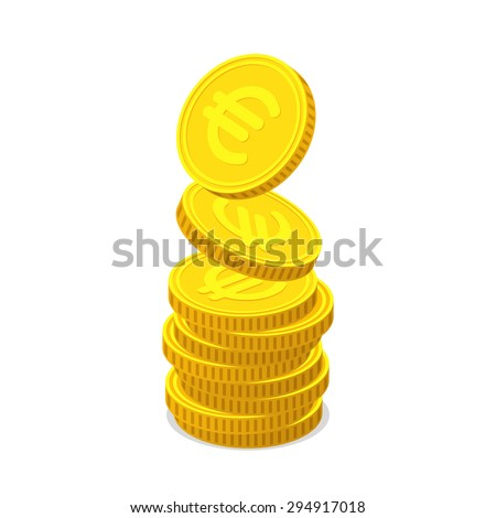 Stack from gold coins with euro sign. Coins is falling from the top so stack is increasing. Income concept - stock vector