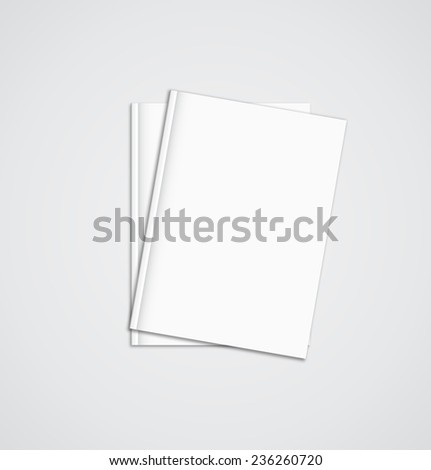 Stack of blank magazines template. on white background with soft shadows. Ready for your design. - stock vector