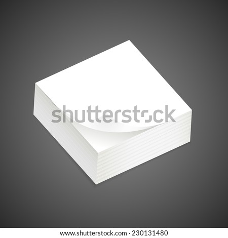 stack of blank sticky note over black background - stock vector