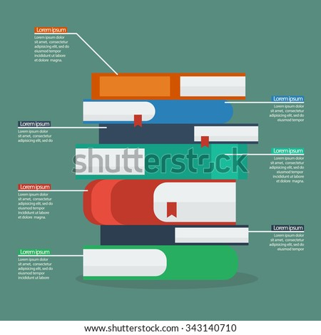 Stack of books infographic. Flat Style Vector Illustration - stock vector