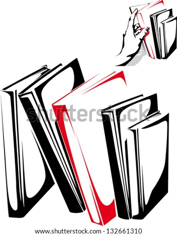 Stack of books isolated on the white background - stock vector