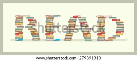 """Stack of books making book """" Read """" pattern - stock vector"""