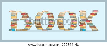 Stack of books making book word pattern - stock vector