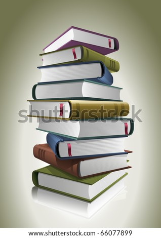 Stack of books. Vector illustration. All books are layered and grouped separately in vector file. - stock vector