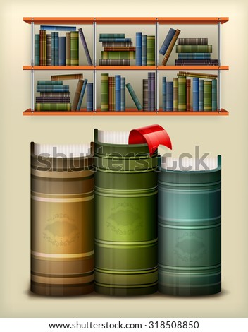 Stack of books with bookmark in library, vector illustration - stock vector