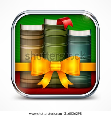 Stack of books with bow in square icon, vector illustration
