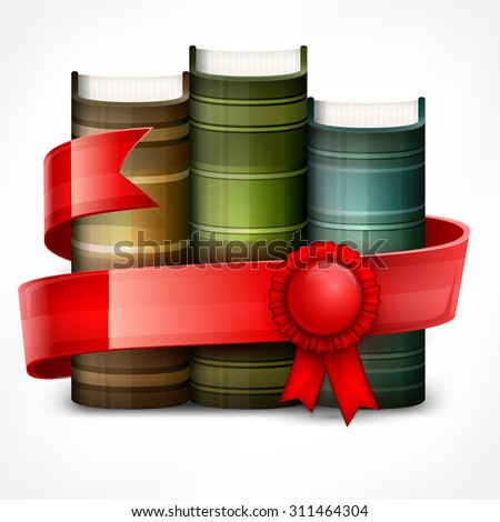 Stack of books with red ribbon on white, vector illustration - stock vector