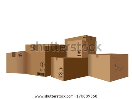 stack of Cardboard Boxes - stock vector