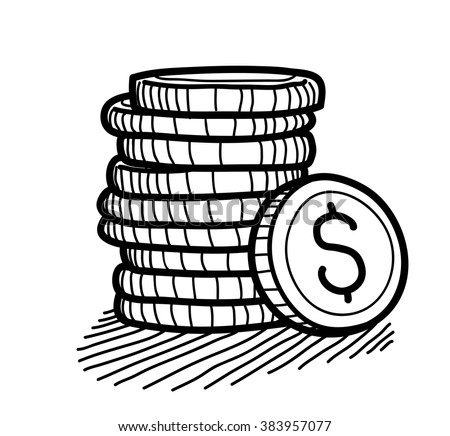 stock vector stack of coins doodle dollar a hand drawn vector doodle illustration of a stack of gold coins 383957077 quarter coin stock vectors, images & vector art shutterstock,A Penny In Fuse Box