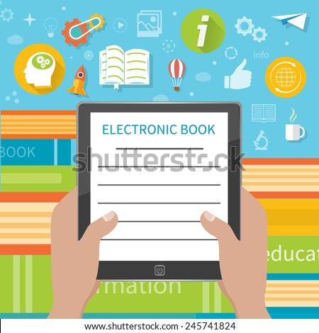 Stack of colorful books with electronic book reader at book store. Hands holding e-book cartoon flat design style - stock vector