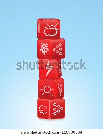 Stack of dices with weather icons - stock vector