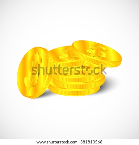 Stack of gold coins. coins with a dollar sign for your design