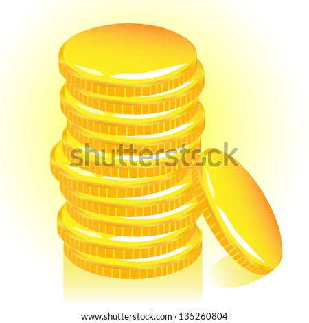 Stack of gold coins, vector. - stock vector