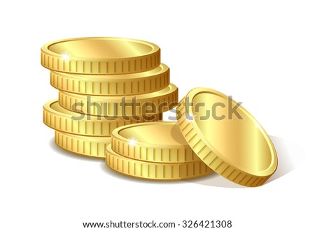 Stack of gold coins, vector illustration 10 eps - stock vector