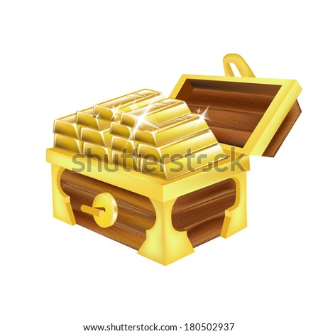 stack of golden bars isolated on white
