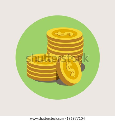 stack of golden coins flat icon  - stock vector