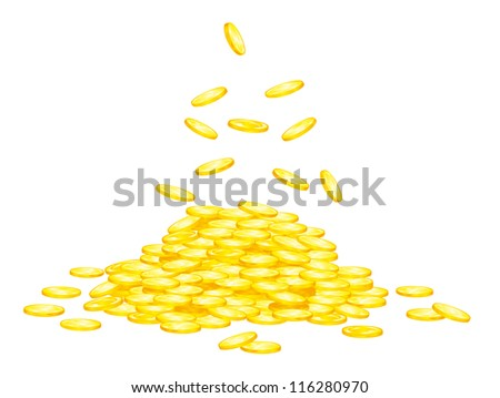 Stack of golden coins for wealth or lucky concept design. Jpeg version also available in gallery - stock vector
