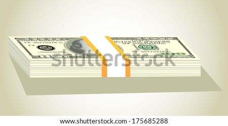 Stack of money american hundred dollar bills  - stock vector