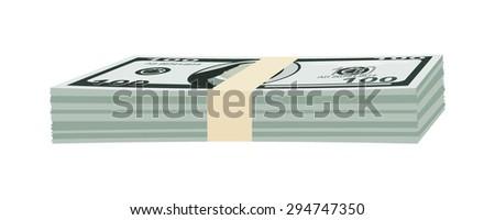 Stack of money american hundred dollar bills. Vector illustration. - stock vector