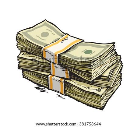 Stack of money. Dollar bills. Hand drawn vector illustration. Isolated. - stock vector