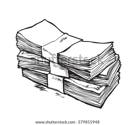 Stack of money. Hand drawn vector illustration. Isolated - stock vector