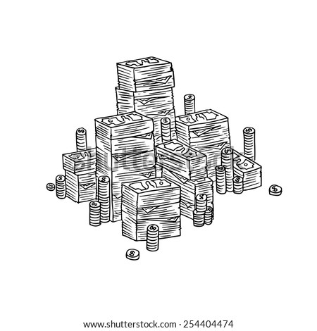 Stack of money in doodle style. - stock vector