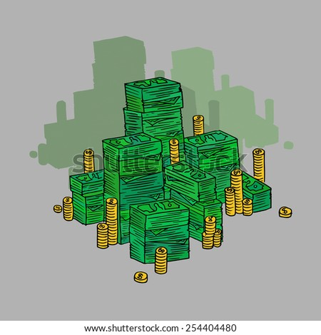Stack of money in doodle style.