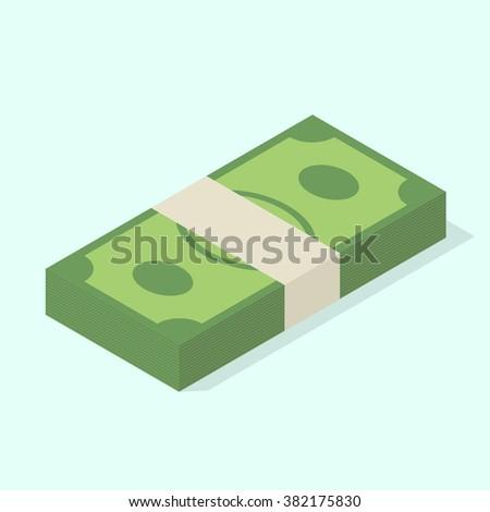 Stack of money. Isometric vector illustration - stock vector