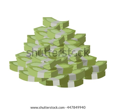 Stack of money vector. Pile of banknotes in flat style design. Getting maximum profit idea. Cash for all purposes. Illustration for credit, savings, charitable concepts. Isolated on white background. - stock vector