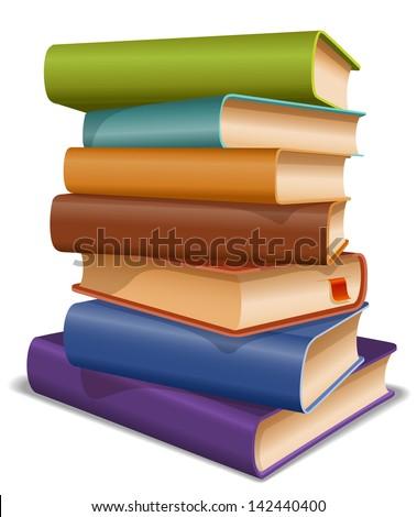 Stack of multi colored books - stock vector