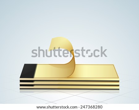 Stack of notepad with turning page on stylish background. - stock vector