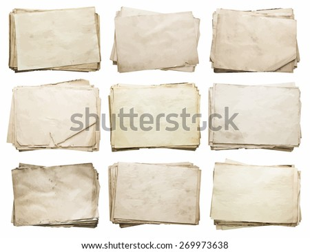 stack of old papers set, vector - stock vector
