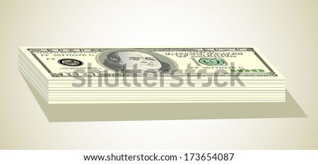 Stack of one hundred dollar bills