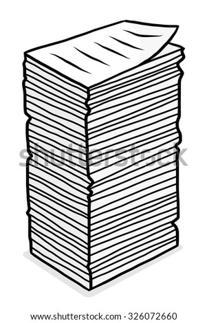 stack of paper / cartoon vector and illustration, grayscale, hand drawn style, isolated on white background. - stock vector